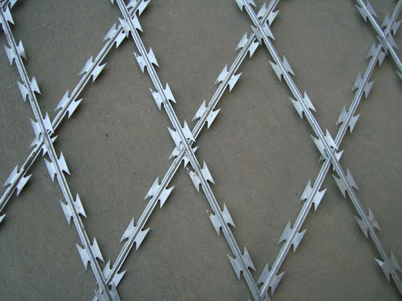 Razor wire is also named concertina coils or razor type barbed wire